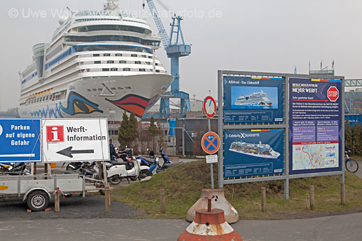 Holiday ship AIDAsol on the Harbour Meyer Werft Papenburg