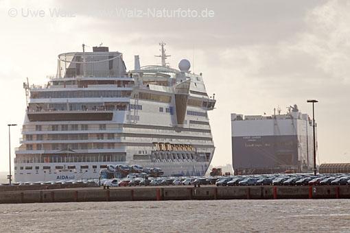 Ship passage Holiday ship AIDAsol on the Quay Emden
