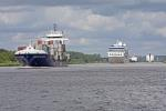 Transport ship goes on the Kiel Canal