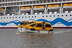 AIDAsol in the Harbour of the  Meyer Werft rescue boat check