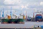 Freighters in the Emdener inland harbour