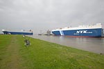 Car carriers in the Harbour of Emden