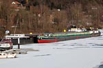 Lauenburg / Elbe, Canal barge into frozen haven